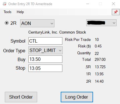 Bracket Order Trader TD Ameritrade Main Screen