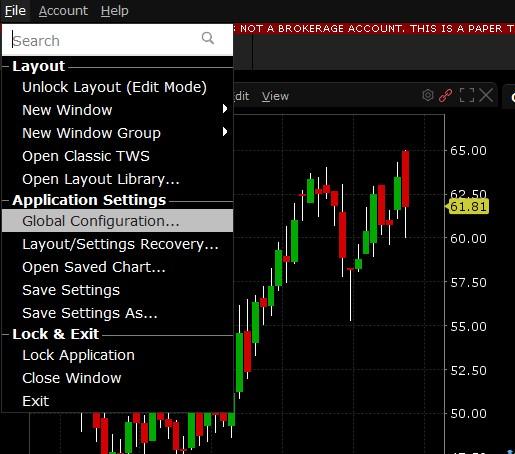 Interactive Brokers Global Configuration Menu
