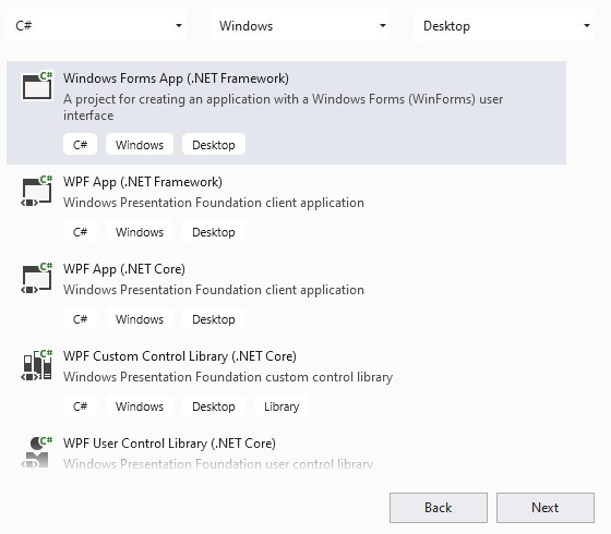 New Project Windows Forms App DotNet Framework